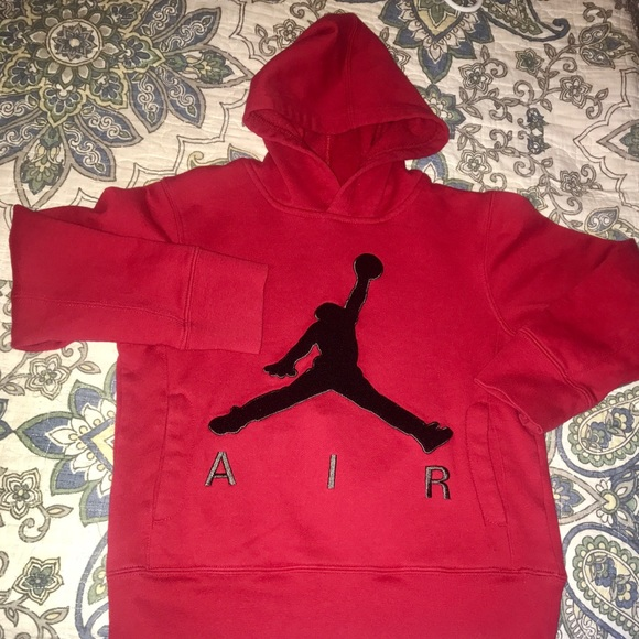 famous brand good quality best service Nike Air Jordan Hoodie Red and Black Size Small